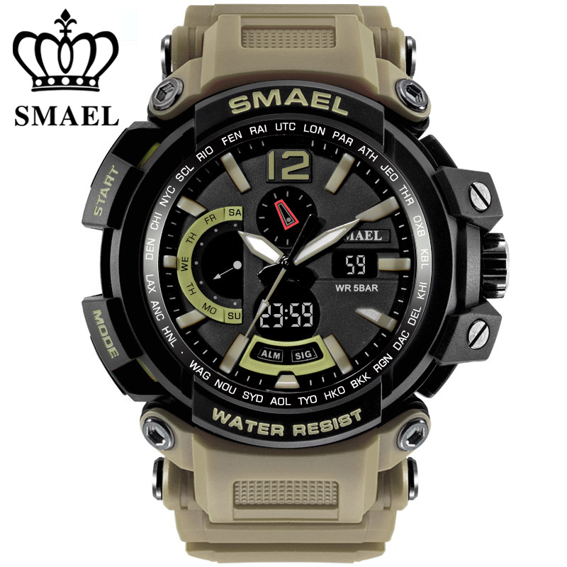 Military Watch Waterproof 50M Quality Brand Sport Watches Dual Digital Men Clock Army Chronograph Big