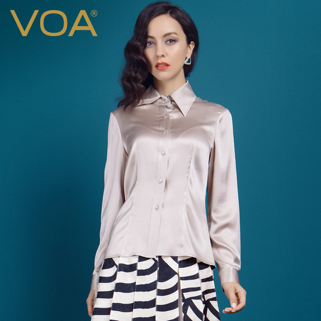 2c890f28 VOA Spandex Silk Satin Shirt Lapel Powder Green Slim All-Match Long Sleeved  Silk Blouse B1098