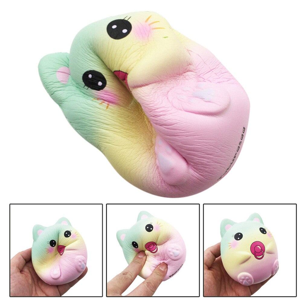 9.5cm Cute Cartoon Squeeze Squishy Kawaii Galaxy Cat Toys Stress Reliever Slow Rising Fun Toys For Adults Anti Stress Cat MA07d