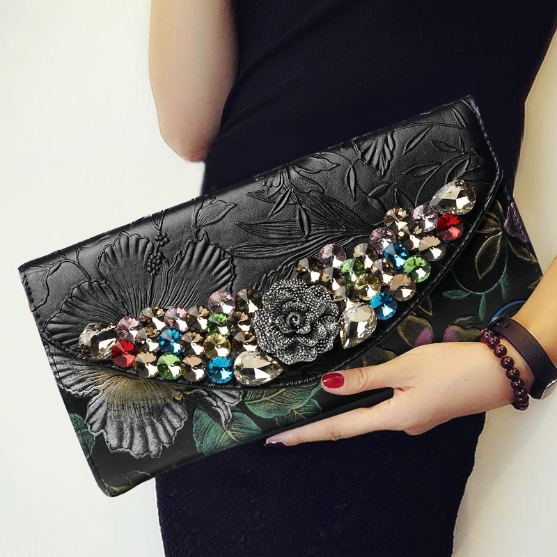 National Diamonds Hand Bag Purse Genuine Leather Women Wallet Evening Clutches Envelope Shoulder Bag Vintage Wristlets Clutch vintage serpentine genuine leather woman clutches evening bag crossbody chain shoulder bag handbag clutch wallet lady long purse