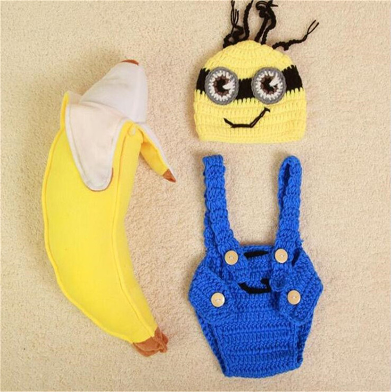Newborn Hooded Romper Baby Photography Props Kids Knit  Crochet Baby Boy Romper Infant Costume Button Baby Clothes Baby Minions