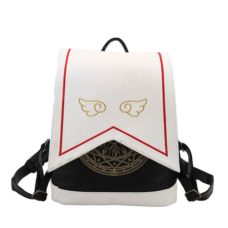Card Captor Sakura Bag KINOMOTO SAKURA Backpack Embroidery Wing Japanese Students Pu Leather Bag