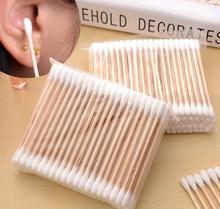 100pcs Women Beauty Makeup Cotton Swab Cotton Buds Make Up Wood Sticks Nose Ears Cleaning Cosmetics