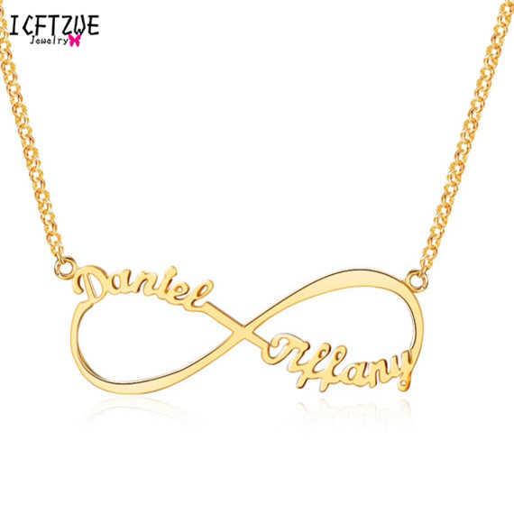 0d406e28db1b Personalizado 2 nombres personalizado infinito collar de las mujeres de  plata de oro rosa gargantilla collar de las mujeres la eternidad boda  promesa ...