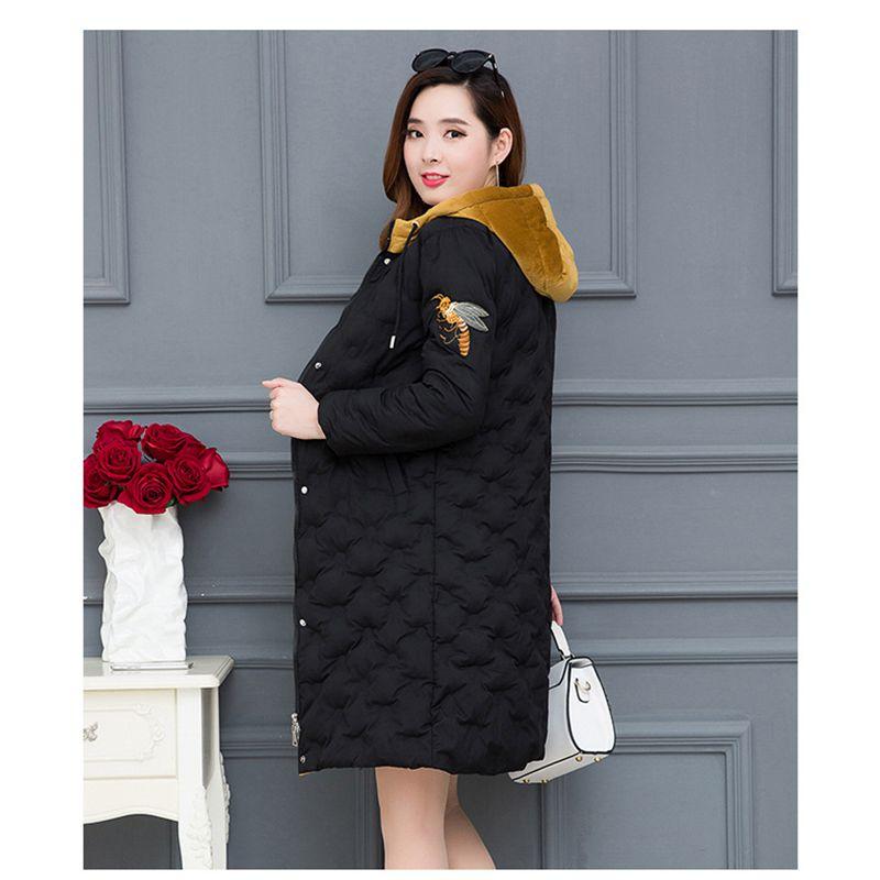 Et 2018 Vers Taille Épais Veste Chaud Femmes Nzyd885 Le Manteau Hiver Lâche De Nouveau Mode Style À black Mi Capuchon Plus Femelle long Bas La Gray Coton vOm80yNnw