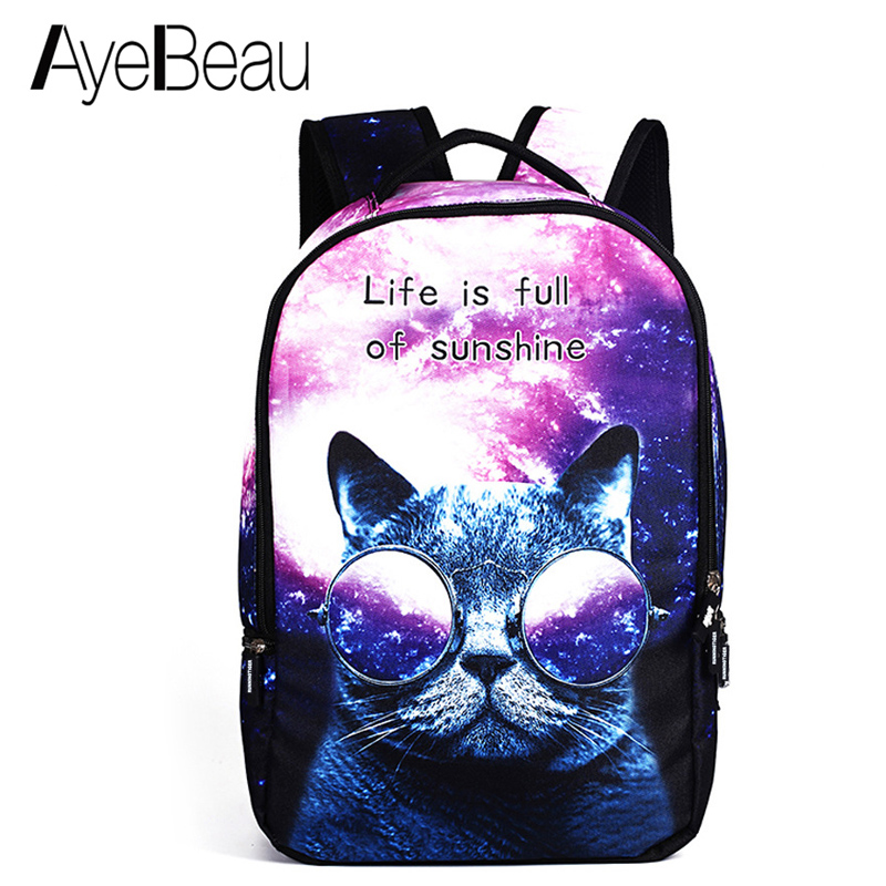 Cute Portfolio School Bag Children Printing Backpack With Cat Print Female Women For Kids Boys Girls Teenagers Schoolbag Bagpack