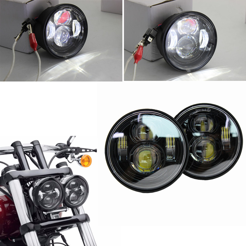 1 set For Fat Bob Dual Harley Motorcycle Headlight 4.5