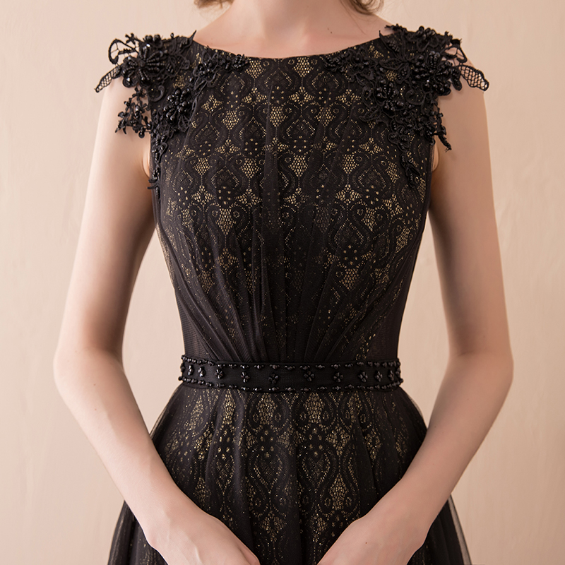 Vintage Women Lace Evening Dress Long Formal Black Formal Party Dresses Floor Length A Line Bridal Evening Gown