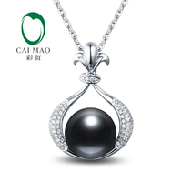 Female 14k White Gold 11mm Round Black Pearl Engagement Diamond Pendant Free shipping for Christmas