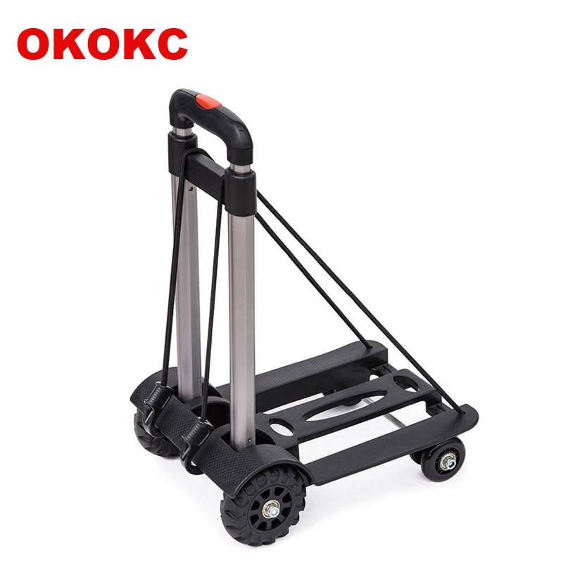 OKOKC Aluminum Alloy Luggage Cart Four-wheel Folding Portable Trolley Shopping Cart Load Bearing 50kg