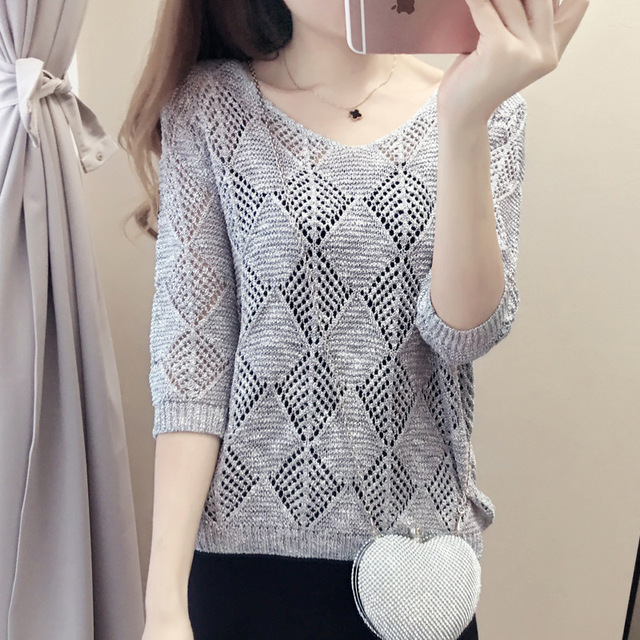 fc7397ec2d9c Hollow Blouse Thin Sleeve Sweater Summer Women Korean Style Loose Sunscreen  Air Conditioning Sweater Knit Sweater Short