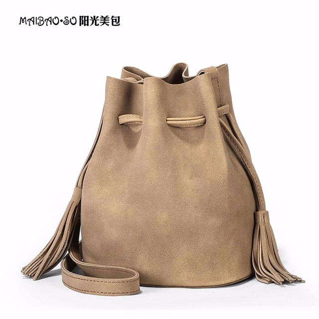 Well-liked Suede Bucket Bag Luxury Handbags Women Bags Designer Drawstring  QB62