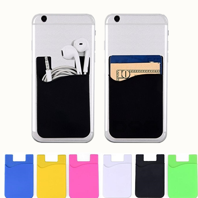 Fashion Women Men Cell Phone Card Holder sticker Bus Card Business Credit ID Card Holder Slim Case Pocket On 3M Adhesive leather slim credit card holder id card case holder useful purse with neck strap