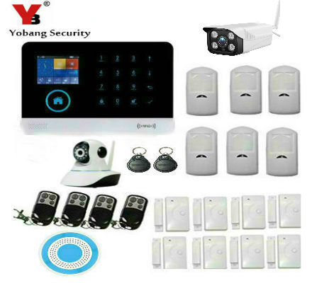 YoBang Security Home Security Android IOS Application Wireless WiFi GSM IP Camera PIR Motion Sensor Wireless Alarm+Cable Alarm.