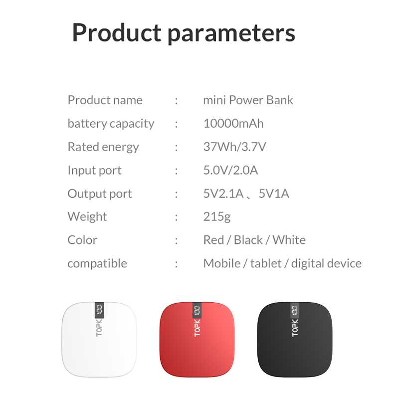 Image 5 - TOPK Mini Power Bank 10000mAh Charger Portable Powerbank External Battery Pack Dual USB Charger Poverbank for iPhone Xiaomi Mi 9-in Power Bank from Cellphones & Telecommunications