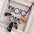 Lemon Value Statement Maxi Choker Vintage Charms Collar Gem Crystal Pendants Leather Rope Necklaces Women Jewelry Collier A469