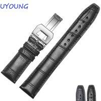 Цвет: черный, Синий крокодил ремешок для часов 20 мм 21 мм 22 мм Высокое качество Bamboo Форме Мужские Женские часы аксессуары
