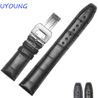Black Blue Crocodile Watchband 20mm 21mm 22mm High Quality Bamboo Shaped Mens Womens Watch accessories