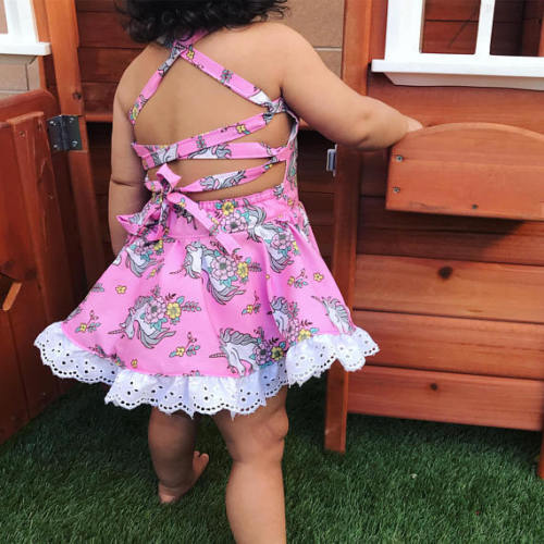 Newborn Baby Girls Sleeveless Bandage Dresses Backless Tutu Party Wedding Dress Princess Sundress Summer Clothes