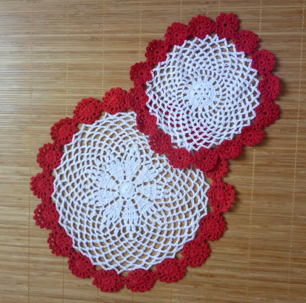 Luxury cotton placemat cup coaster mug kitchen Christmas dining table place mat cloth lace Crochet tea coffee doily drink pad in Mats Pads from Home Garden