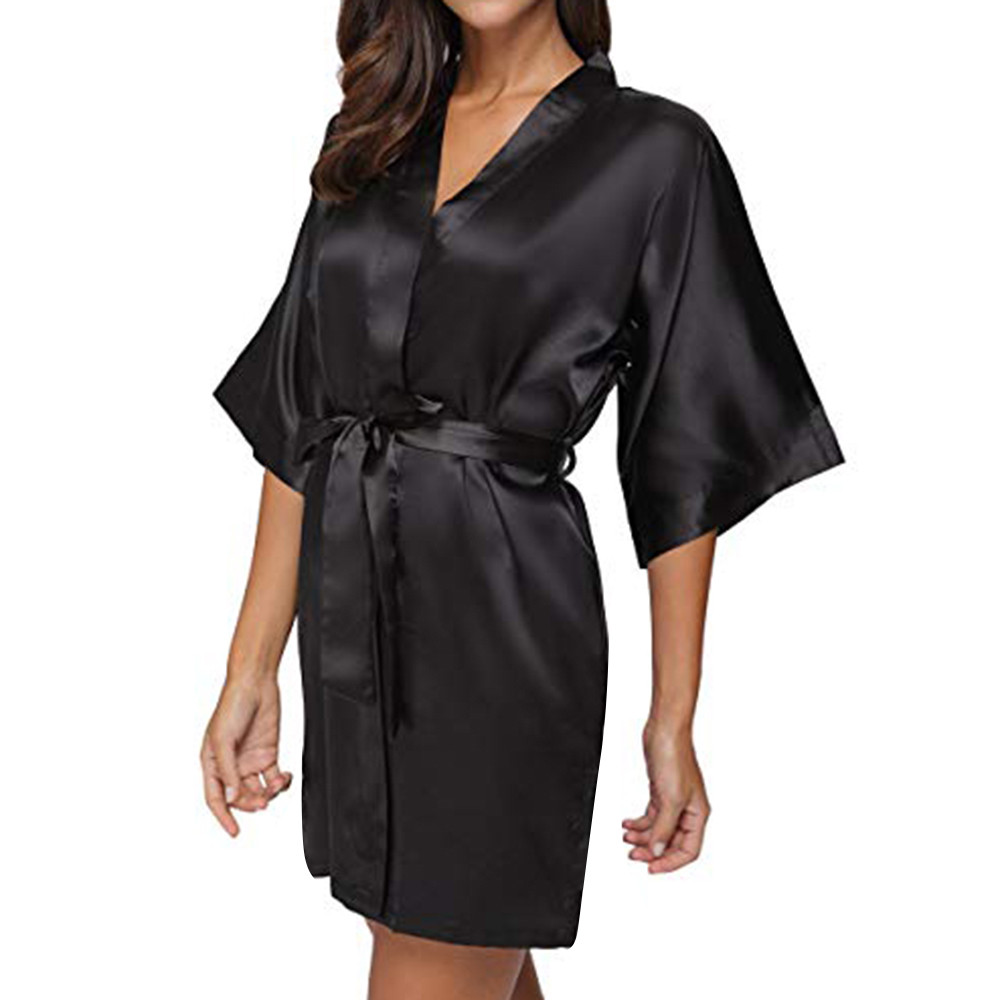 Women's Casual Solid Robes Sleepwear 1/2 Half Sleeve V-Neck Lace Up Belt Bandage Satin Sleepwear Mini Dress Nighwear Rope