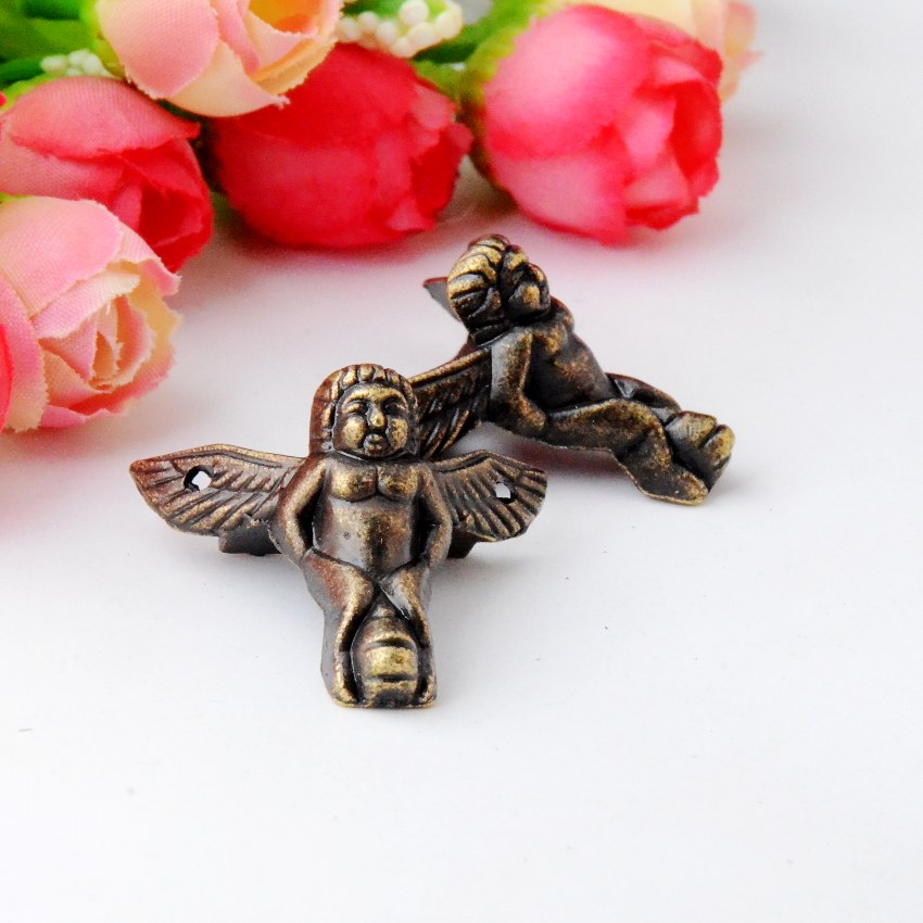 Free Shipping 8Pcs Antique Bronze Jewelry Gift Box Wood Case Decorative Feet Leg Corner Protector 32x24mm J2833