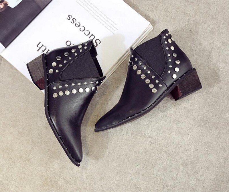 Image 5 - Cuculus PU Leather Ankle Boots For Women 2020 Autumn New Rivet Pointed Toe Rubber Shoes Black Wedges Boots Women 35 39 1423Ankle Boots   -
