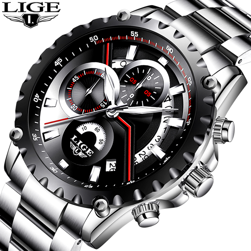 LIGE Watch Men Sport Quartz Clock Mens Watches Top Brand Luxury Full Steel Fashion Business Waterproof Watch Relogio Masculino lige mens watches top brand luxury fashion business quartz watch men sport full steel waterproof clock man box relogio masculino