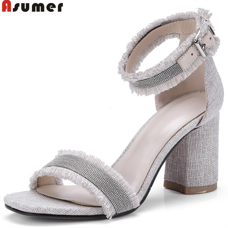 ASUMER 2018 fashion summer ladies shoes square heel buckle elegant wedding shoes woman big size 33-43 women sandals