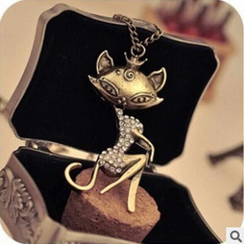 Women's Fashion Rhinestone Crystal Retro Elegant Cat Long Sweater Chain Pendant Women Necklace Jewelry ND84