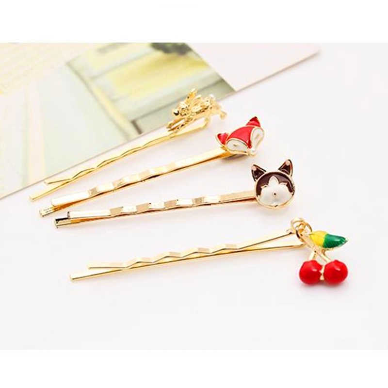 Cute Baby Rabbit Hairpins Novelty Cartoon Animal Fox Hair Clips Girls Children Cat Barrettes Strawberry Hair Jewelry