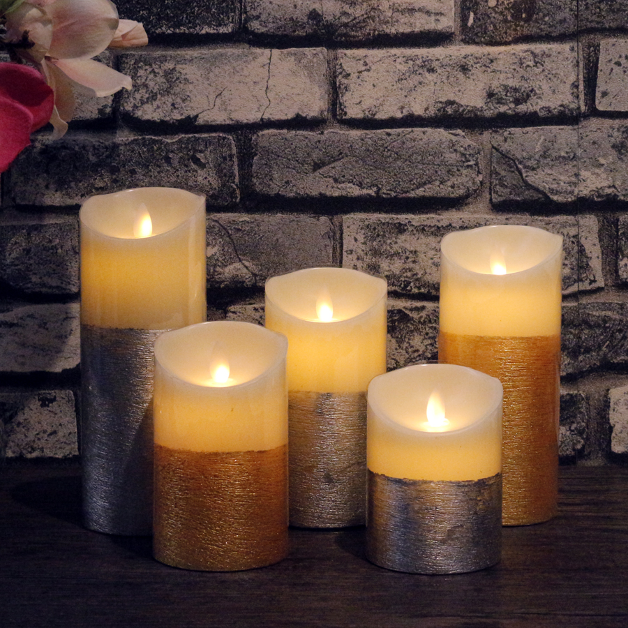 Gold/Silver Set LED Candle Remote Control Candle Lights Simulation Flame Flashing Candle Lamps for Home wedding Decoration