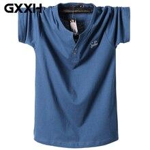 Летняя мужская футболка с коротким рукавом больших размеров, Мужская футболка с v-образным вырезом, Мужская одноцветная хлопковая M-3XL 4XL 5XL 6XL 7XL 8XL