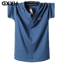 2019 Summer Larger Size Short-sleeved T-shirt Men's V-neck Man Oversized Tee Male Solid Color Cotton M-3XL 4XL 5XL 6XL 7XL 8XL(China)