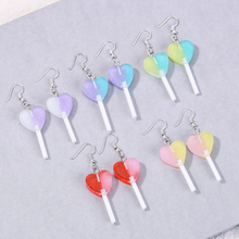 1pair Fashion Craft Resin candy Lollipop Gradient color bff friendship Drop Earrings For Women Jewelry