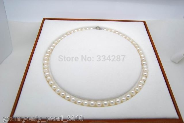 """100% Selling Picture full Fine 9-10mm AAA white pearl necklaces 18"""" 925Silver clasp (no box)"""