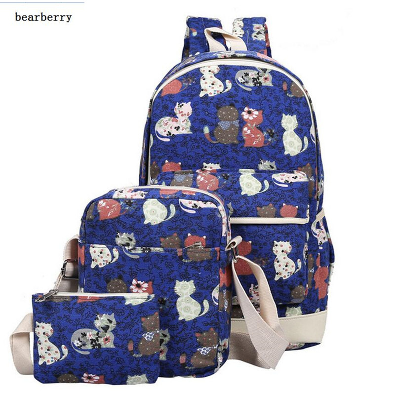 bearberry backpack women animal cat printing backpack