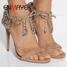 ENMAYER  Casual Lace-Up Women Sandals Gladiator Sandalias Mujer 2019 High Heel Size 34-43 ZYL2604