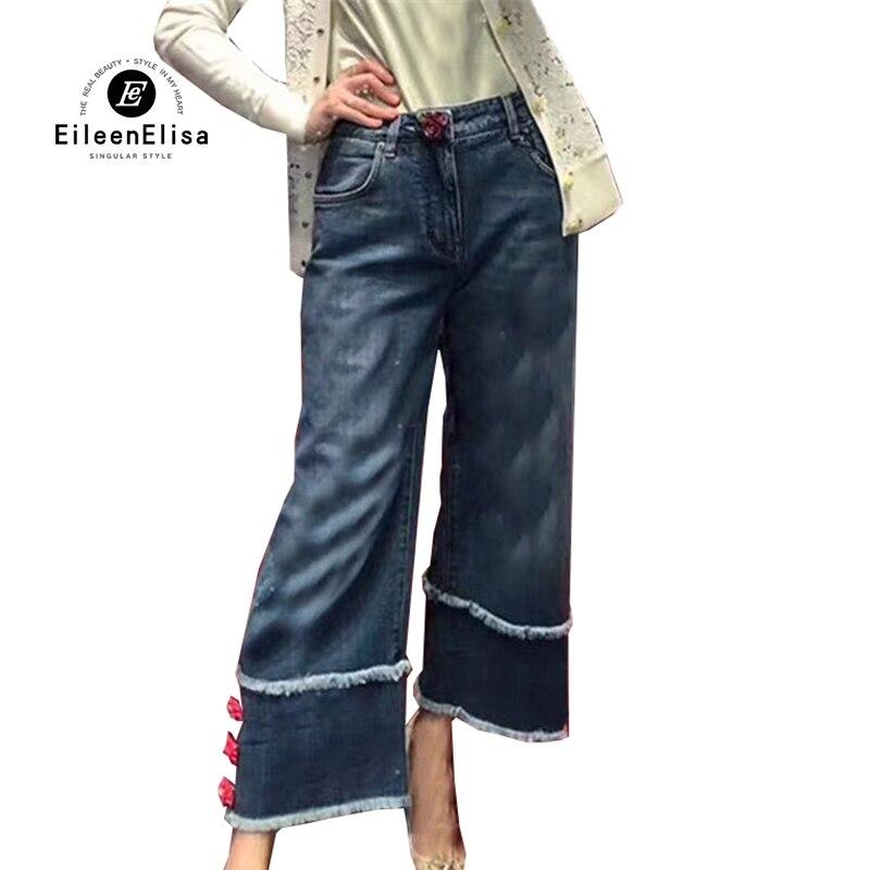 Woman Pants Casual 2018 Summer Jeans Wide Leg Pants Floral Button Mid Waist Flare Jeans For Women