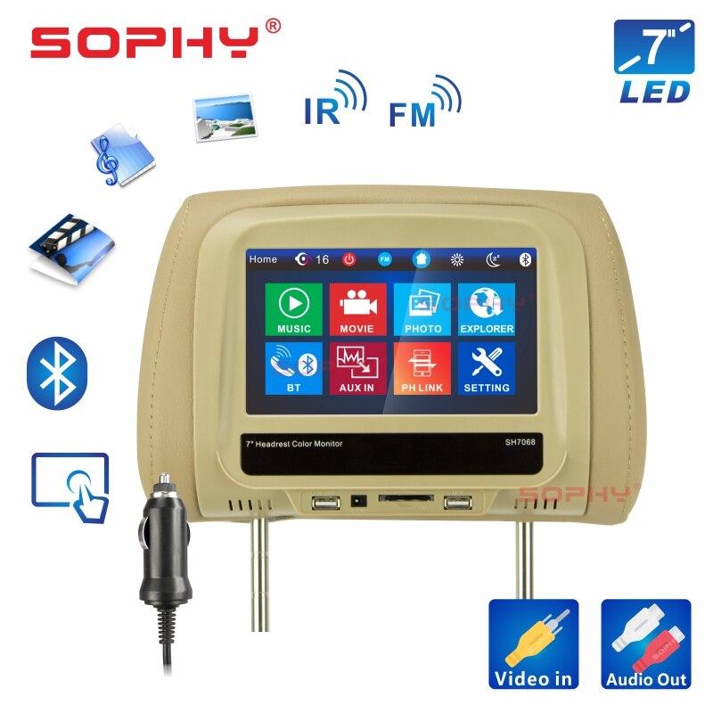 Новинка! 8 дюймов автомобильный подголовник монитор MP4/MP5 видео плеер подушка монитор с ик FM сенсорный экран телефон зарядка SH8068-P5 - Цвет: 7068MP5-Beige