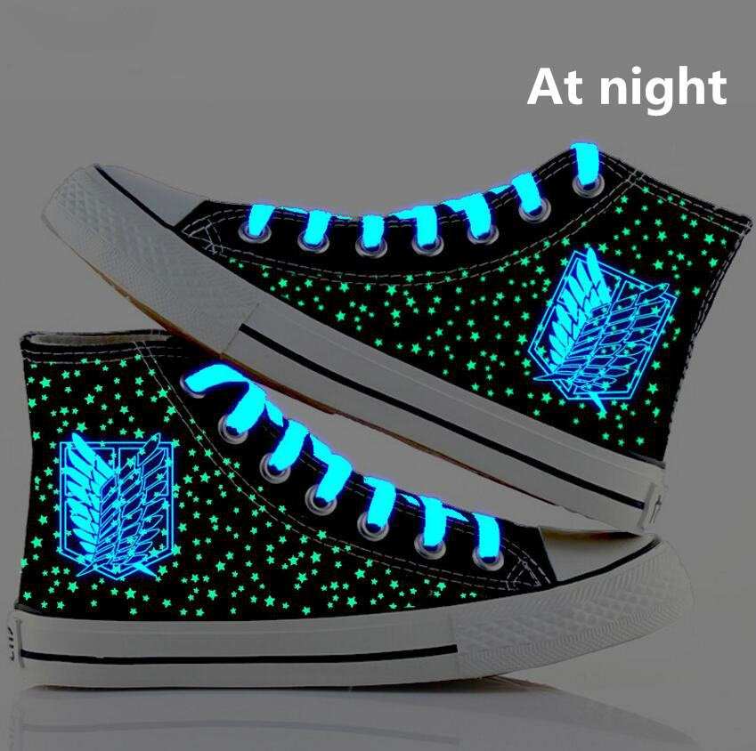 Anime Attack on Titan Noctilucent Canvas Shoes Shingeki no Kyojin shoes board Luminous shoes cosplay Attack on Titan Shoes