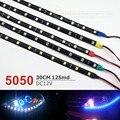 4 Unids 30 cm Azul/Verde/Rojo/Blanco/Amarillo Impermeable de La Luz 5050 12 SMD de Alta Potencia Tiras LLEVADAS flexibles de Automóviles Coche de la Lámpara DRL Styling