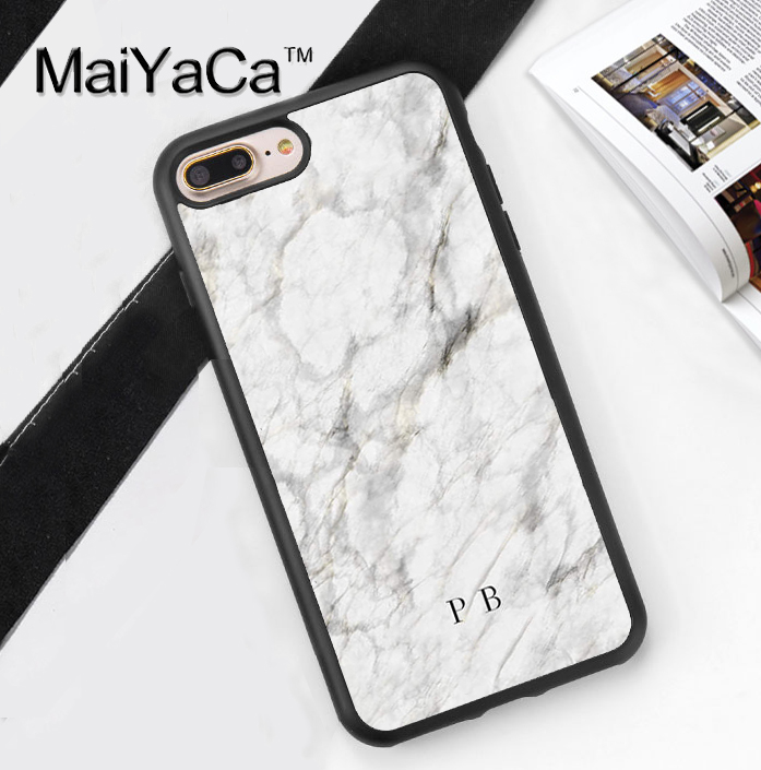 MaiYaCa White marble name initials custom Design Soft Rubber Phone Case For iPhone 6 6S 7 8 Plus 5 5S SE X Back Cover Skin Shell