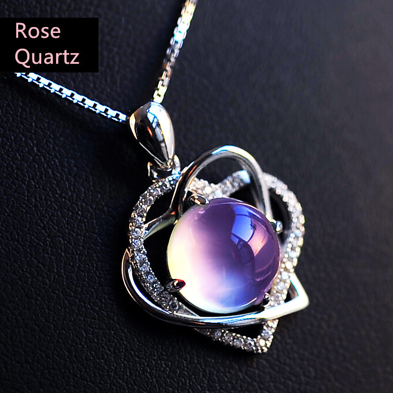 Natural Rose Quartz Pendant Cute Heart Necklace 925 Sterling Silver Lady Women's Fine Elegant jewelry Girl Love Valentine Gift rose petals heart love patterned valentine s day waterproof table cloth