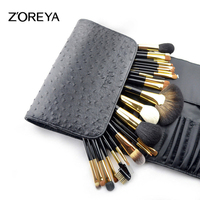 ZOREYA 24pcs Black Makeup Brush Set Professional Eyebrow Eyeshadow Eyelash lip Fan Concealer Powder Brush Makeup Brushes Tools