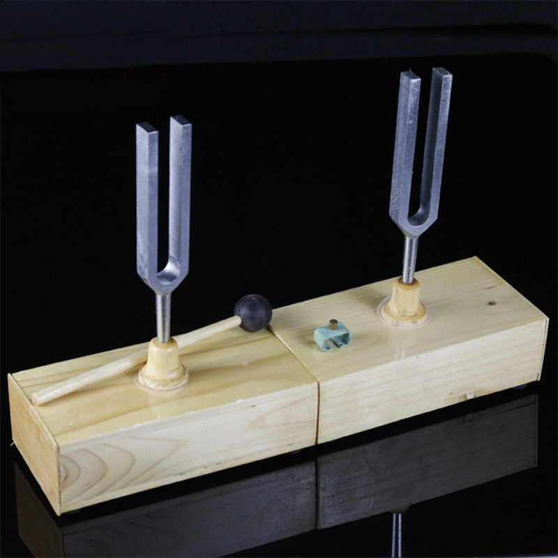 440HZ Resonance Tuning Fork Wooden Speaker Steel Fork Teaching Fork Physical Acoustics Laboratory Instrument Resonance Box