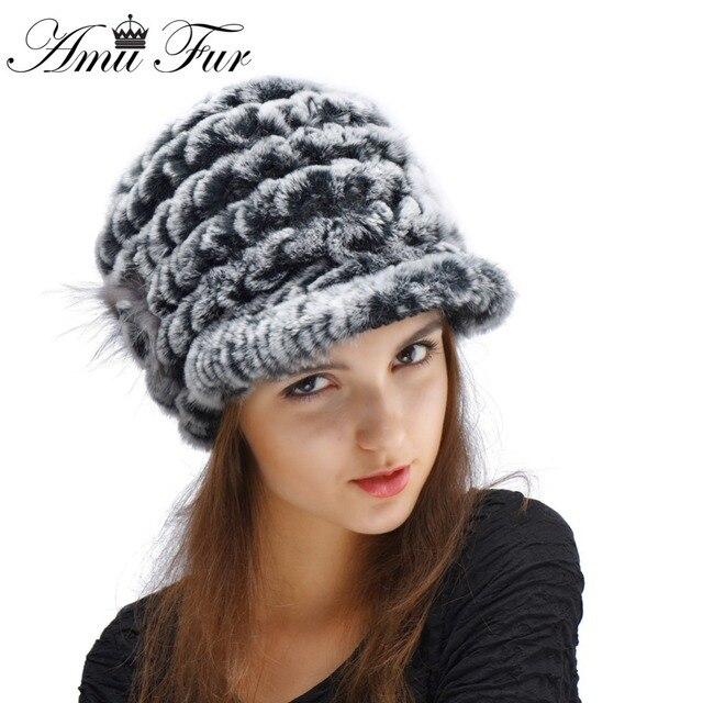 2016 New Knitted Genuine Rex Rabbit Fur Hat Fashion Women Rabbit Fur Cap Skullies Winter Warm  Fur Headgear Beanies