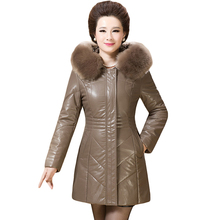Winter Casual New Brand Women Warm Large Fur Collar Hooded Coat 6XL Plus Size Leather Thick Jacket Overcoat Parka for Mom XH415
