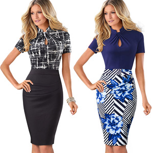 Image 3 - Nice forever Vintage Contrast Color Patchwork Wear to Work Knot vestidos Bodycon Office Business Sheath Women Dress B430