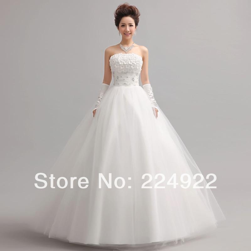 White wedding dress 2014 sweet princess tube top wedding for Plus size wedding dresses with straps